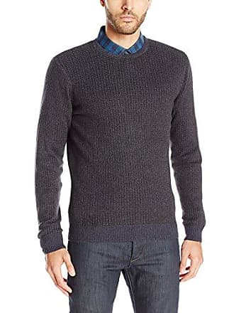 Vince Camuto Mens Mock Neck Tick Sweater, Charcoal/Blue Combo X-Large