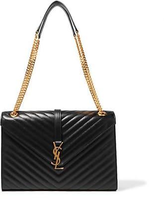 Saint Laurent Cassandre Large Quilted Textured-leather Shoulder Bag - Black