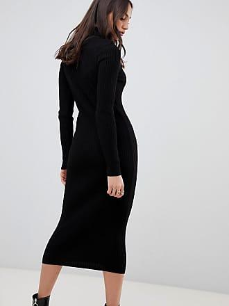 Asos Tall ASOS DESIGN Tall high neck rib midi dress - Black 28c34819e