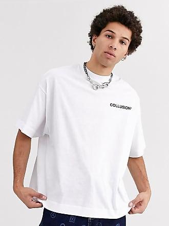 Collusion Oversize-T-Shirt in Weiß mit hervorgehobenem Druck in Schwarz