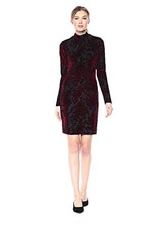 Dress The Population Womens Dana Long Sleeve Velvet Mini Dress, Burgundy/Black, S