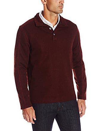 Van Heusen Mens Sweater Fleece Long Sleeve 1/4 Button Mock Neck, Red Pinot Noir, X-Large