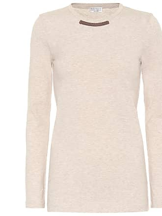 Brunello Cucinelli Embellished stretch cotton top
