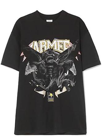 VETEMENTS Embellished Printed Cotton-jersey T-shirt - Black