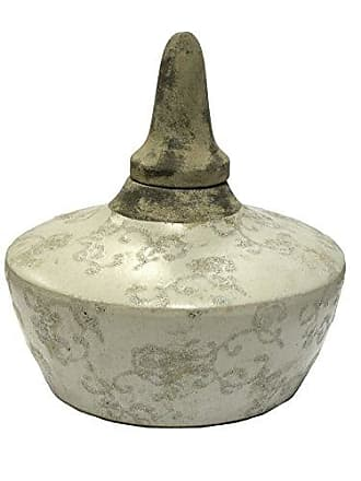 Sagebrook Home VS10115-03 Lidded Jar White Cement, 7 x 7 x 9 Inches