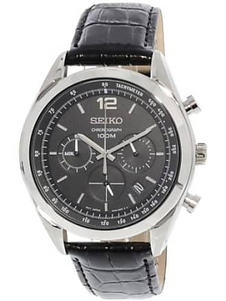 Seiko Mens SSB097 Silver Leather Quartz Fashion Watch