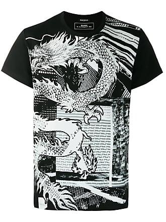 Balmain Camiseta com estampa de dragão - Preto