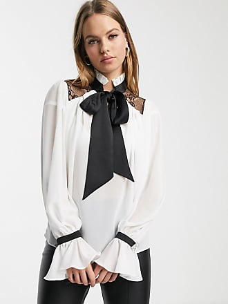 River Island tie neck blouse with lace yoke in ivory-White