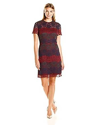 7cc26ca3 Maggy London Womens Tri Color Lace Fit and Flare, Wine/Navy, 16