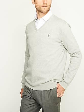 Polo Ralph Lauren Pull en coton pima uni à col V slim fit Gris Polo Ralph 25c59b0c7209