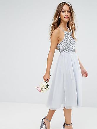 Asos Petite ASOS DESIGN Petite delicate beaded strappy back midi dress - Gray