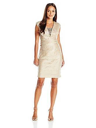 154a9cd1 London Times Womens Petite Cap Sleeve V Neck Sheath Dress w. Jeweled  Insert, Champagne