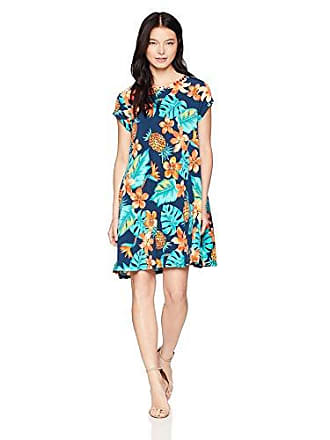Ruby Rd. Womens Petite Scoop-Neck Printed Short Sleeve Swing Dress, Dark Lagoon Multi, PET Medium