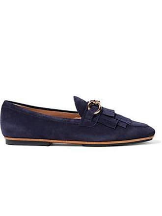 f0e782a119e Tod s Tods Woman Chain-trimmed Fringed Suede Loafers Navy Size 36.5