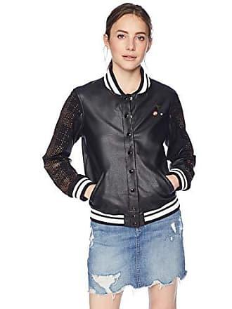 abf91b5f0a0d8 Guess Womens Long Sleeve Lexia Varsity Jacket, Jet Black/Multi L