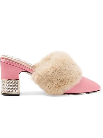 Rose Fourrure Gucci Satin Ornements Mules Synthétique à En En Candy Et XwR4wUq
