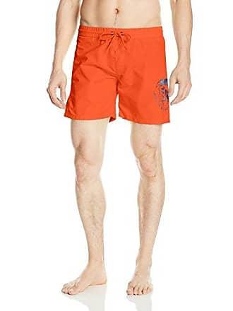 0a8a673c92 Diesel Mens Wave 6 Inch Solid Logo Swim Trunk, Orange, Medium