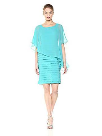 Adrianna Papell Womens Chiffon Drape Overlay with Banding Dress, Aqua Reef, 8