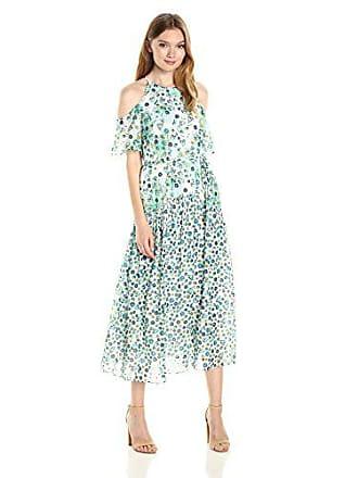 Donna Morgan Womens Cold Shoulder Flutter Sleeve Midi Dress, Turquoise/Multi, 10