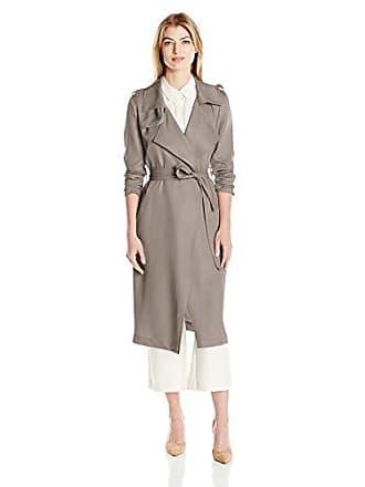 Badgley Mischka Womens Angelina Tencel Trench Coat, Graphite, L