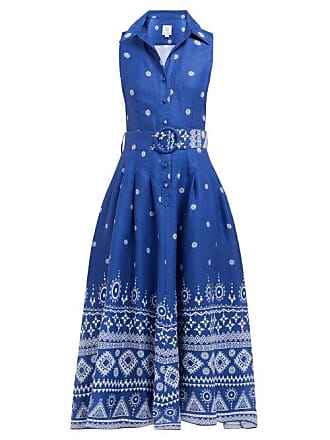 Gül Hürgel Printed Belted Linen Shirtdress - Womens - Blue Print