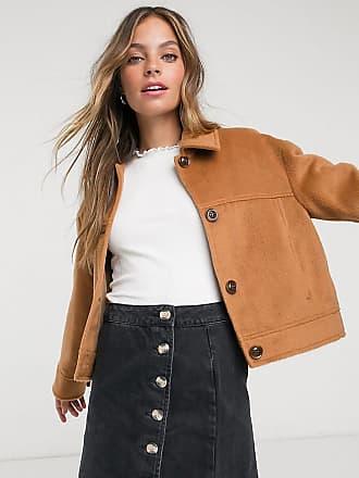 Miss Selfridge Petite faux fur trucker coat in camel-Tan