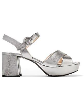 e4252f0afd7 Prada Metallic Textured-leather Platform Sandals - Silver