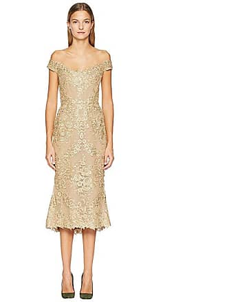 591fe573d17a1 Marchesa Corded Lace Off Shoulder Cocktail Dress with 3D Sequin Roses  (Gold) Womens Dress