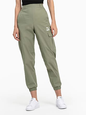 Puma High Waist Utility Womens Pants, Oil Green, size Medium, Clothing