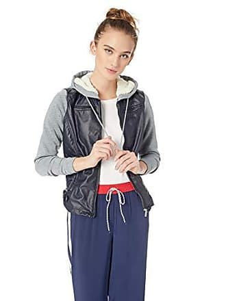 Yoki Womens Faux Leather Jacket with Fleece Sleeves and Hood, Navy, Medium