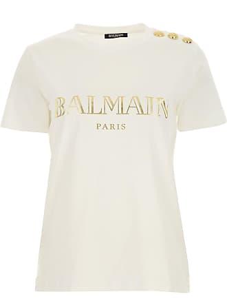 105c6856 Balmain T-Shirt Donna On Sale, Bianco, Cotone, 2017, 38