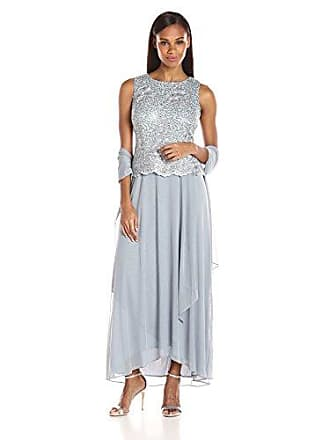 Alex Evenings Womens Long Sleeveless A-Line Dress (Petite and Regular), Ice Blue, 8