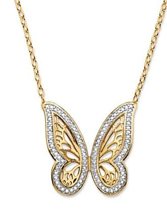 PalmBeach Jewelry Diamond Accent Pave-Style Two-Tone Butterfly Pendant Necklace 18k Yellow Gold-Plated 18-20