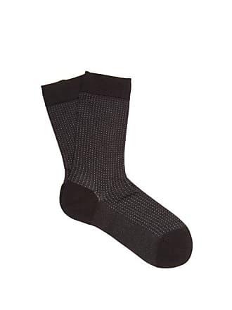 Falke Pin Dot Patterned Silk Blend Socks - Womens - Black