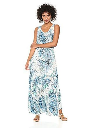 Oneworld Womens Sleeveless Scoopneck Printed Maxi Dress Mysterious Love- Blue Small