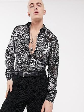 Twisted Tailor Camicia trasparente super skinny pitonata argento