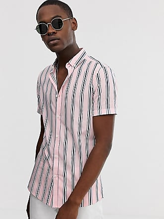 Asos Tall skinny fit shirt in pink and navy stripe - Pink
