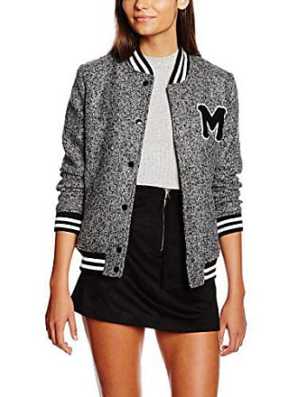 New Look Fleck Badge Bomber, Blouson Femme, Gris (Mid Grey), 42 bbfba43d5ac6