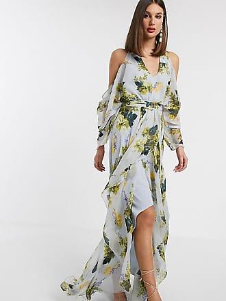 Asos Tall ASOS DESIGN Tall cold shoulder maxi dress in mint floral print-Multi