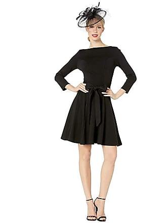 Unique Vintage Knit Tie Waist Bettie Fit Flare Dress (Black) Womens Dress