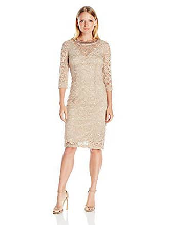 cacde82bd412 London Times Womens Petite Elbow Sleeve Lace Sheath Dress w. Beaded Neck