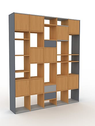MYCS Bibliothèque - Chêne, design contemporain, avec porte Chêne et tiroir Anthracite - 195 x 233 x 35 cm