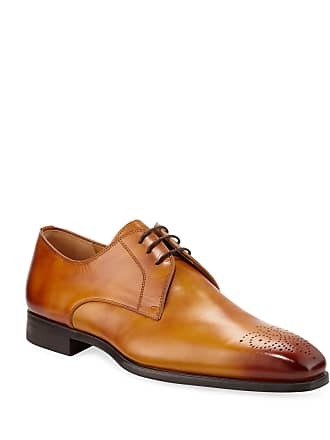 Magnanni Mens Antiqued Leather Lace-Up Oxfords