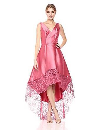 Monique Lhuillier Womens High-Low Gown with Lace Trim Detail, Dusty Rose, 12