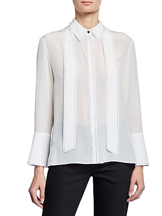 6b593c5037a177 Alice   Olivia Boyd Button-Down Oversized Tie-Neck Silk Blouse