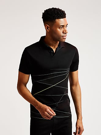Aston Martin Mens Line Print Polo Cotton Shirt | Small | Black