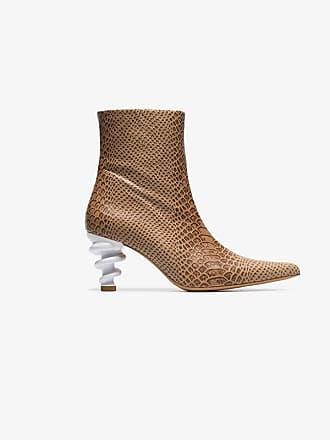 Kalda brown Island 70 twisted heel snake-effect leather boots