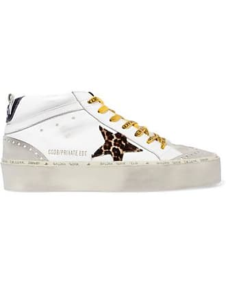 37c0fbb60bb0 Golden Goose Hi Mid-star Distressed Leather, Suede And Leopard-print Calf  Hair