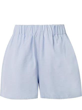 Tibi Chambray Shorts - Sky blue
