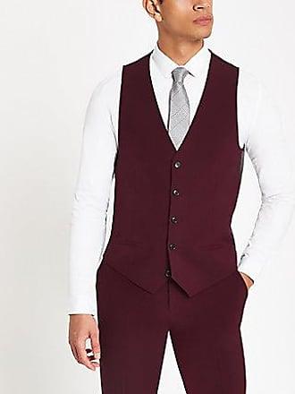 River Island Mens Burgundy suit vest